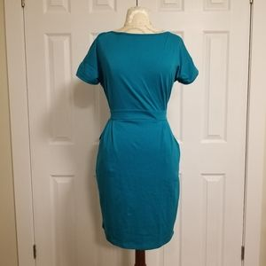 Short Sleeve Teal Dress with Pockets